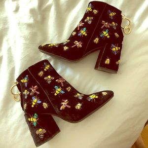 Zara velvet ankle boots with sequin bee embroidery